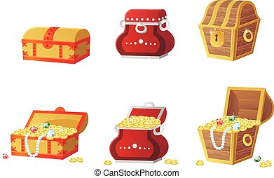 vector illustration of treasure chest full of gold coins and...