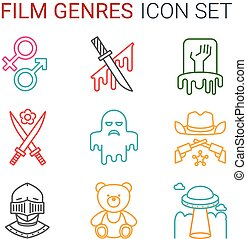 Flat line icons set of professional film production, movie...