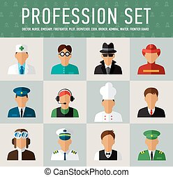 Different people professions characters set - Different...