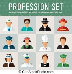 diferente, gente, profesiones, caracteres, Conjunto,