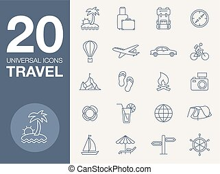 Vacation icons, blue line contour series - vector icons on...