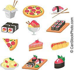 Various food icons set - fruit, vegetables, meat, corn. Vector illustration
