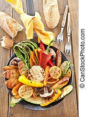 coloridos, grelhados, verão, legumes,