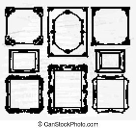 Hand drawn frames set with different ornaments