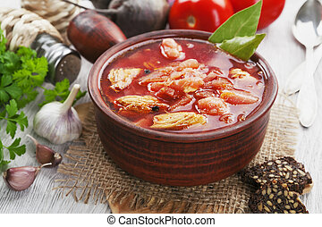 Borsh Russian traditional dish - Soup with red beets and...