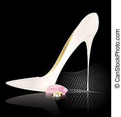 white shoe and ring - dark background and the white ladys...