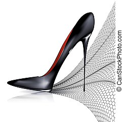 black shoe and veil - white background and the black ladys...