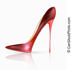 big red shoe - white background and the red ladys shoe