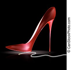 red shoe and beads - dark background and the red ladys shoe...