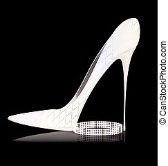 white shoe and pearls - dark background and the white ladys...