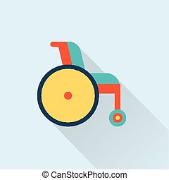wheel chair icon - flat simple cute design of wheel chair...