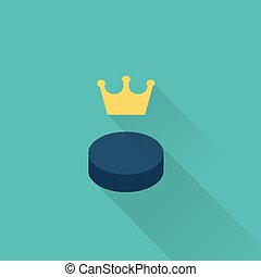 hockey puck sport icon - vector style simple flat hockey...