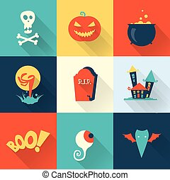 Halloween set - Vector halloween icons flat style cute...