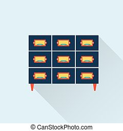 vector flat library card catalogue icon - vector flat...