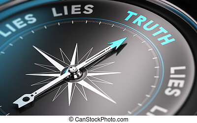 Truth - Black compass with needle pointing the word truth....