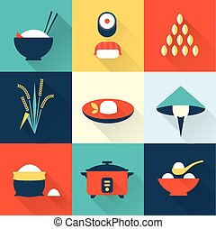 Rice icons - Vector rice icons flat simple style...