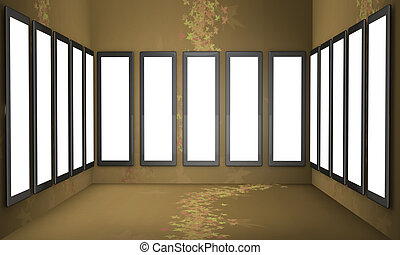 Art gallery concept brown background