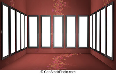 Art gallery concept red background