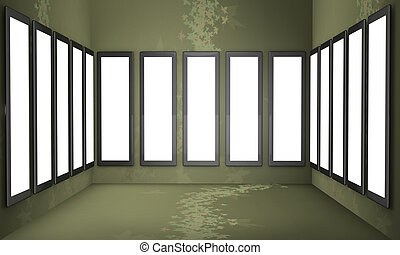 Art gallery concept green background