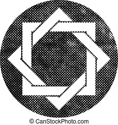 Eight point star vector symbol with pixel print halftone...