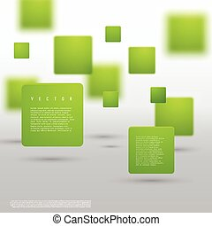 Vector Abstract geometric shape from green cubes. Particles...