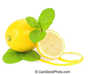 Lemons and mint over white