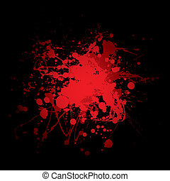 blood splat red - abstract red and black blood spot with ink...