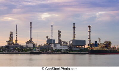 Time Lapse Oil Refinery Station On Dusk Time