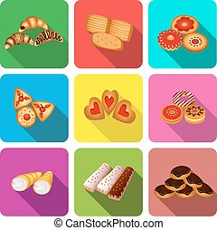 set of icons on a theme cookie cake - illustration set of...