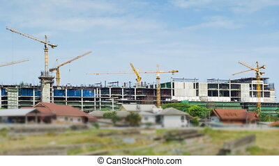 Cranes Working In Construction Site - Time Lapse Cranes And...