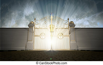 Heavens Gates Shut - A depiction of the pearly gates of...