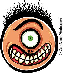 Shocked cartoon face with one eye, vector illustration