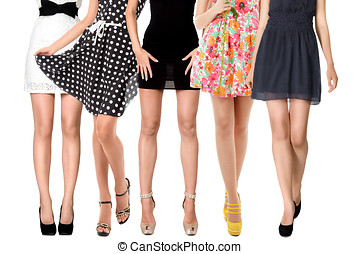 Sexy legs of female group - Sexy long legs of women group...