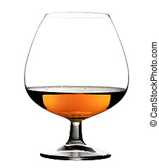 Glass with cognac on white background isolated Front view...