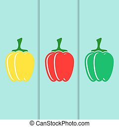 Sweet pepper icons - Red green yellow vector sweet pepper...