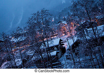 chamonix evening view - evening view of Southern part of...