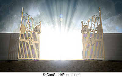 Heavens Gates Opening - A depiction of the pearly gates of...