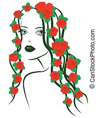Girl with roses on hair