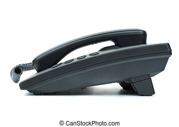 Black office phone Side view Isolated on white background