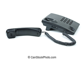 Black office phone with handset near isolated on white...