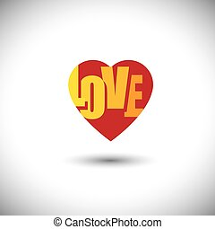 human heart icon and love words inside it - simple vector...