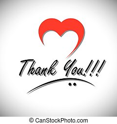 thank you handwritten words vector with heart or love icon....
