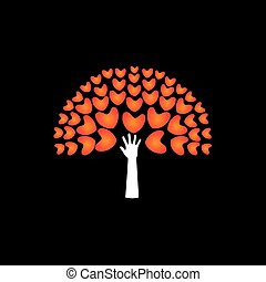 tree of love hearts and hand in support - concept vector...