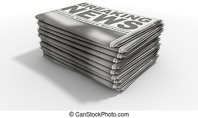 Newspaper Stack Breaking News - A stack of folded stacked...