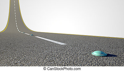 Road Curved Upward - A concept of an ashpalt road with...