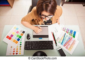 gráfico, diseñador, en, ella, oficina,