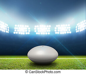Rugby Stadium And Ball - A rugby stadium with a generic...