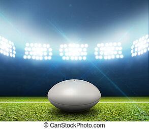rugby, estadio, y, Pelota,