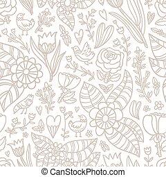 Flowers, birds, hearts seamless pattern