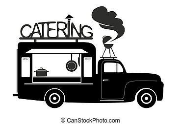 catering - side view of a food truck of catering van